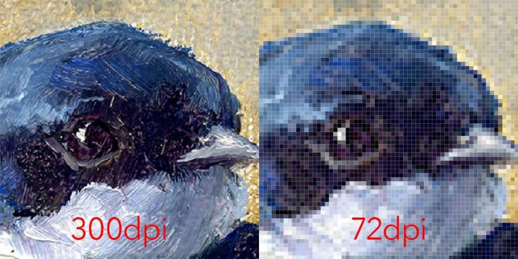 Enlarged view of the same area of a high res and low res image side by side Low res image is pixelated.