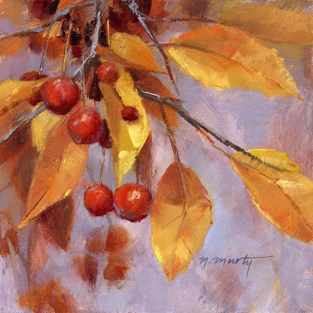 6x6 inch, oil painting of a branch of red crabapples with gold leaves
