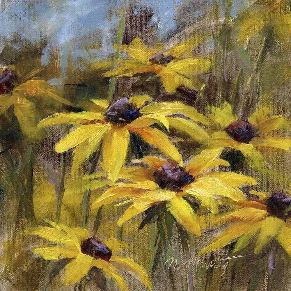 oil painting of Black-eyed Susan flowers, 6x6 inch