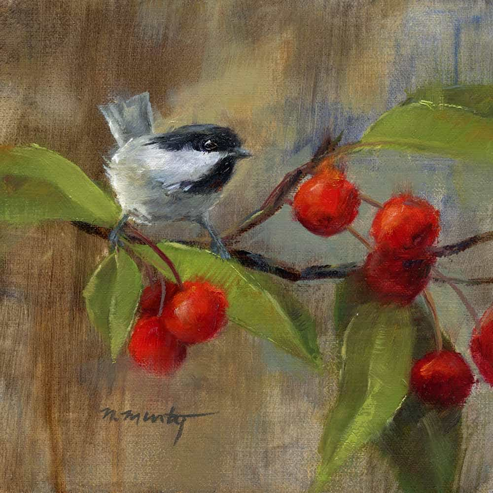 6x6 inch, oil painting of a Chickadee bird on branch of red crabapples