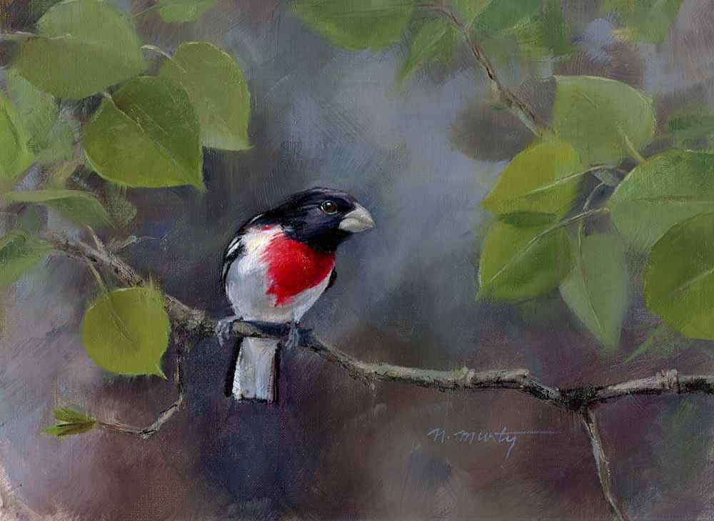 9x12 inch oil painting of a Red-breasted Grosbeak bird on a branch